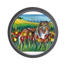 collie tulip town Wall Clock