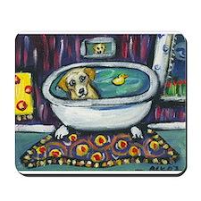Yellow lab bath Mousepad