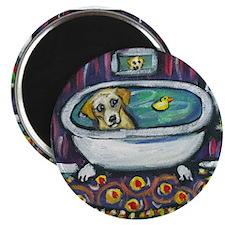 "Yellow lab bath 2.25"" Magnet (100 pack)"