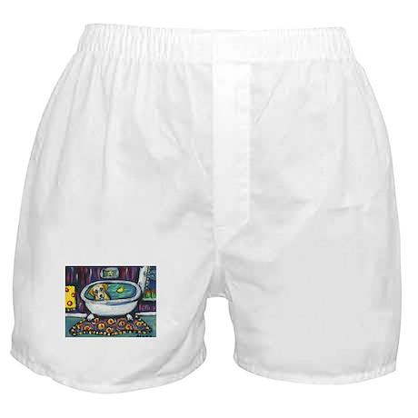 Yellow lab bath Boxer Shorts
