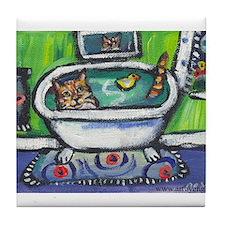Tabby Cat bath Tile Coaster