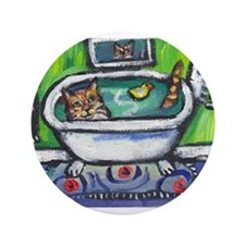 "Tabby Cat bath 3.5"" Button (100 pack)"