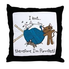 I knit ...purrfect Throw Pillow