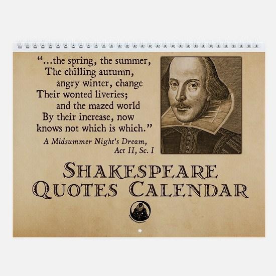 Shakespeare Quotes Wall Calendar