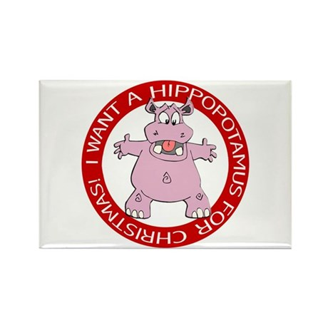 Hippo for Christmas Rectangle Magnet