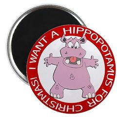 Hippo for Christmas Magnet