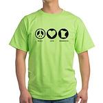 Peace Love Minnesota Green T-Shirt