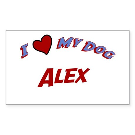 I Love My Dog Alex Rectangle Sticker