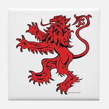Lion Red Black Tile Coaster