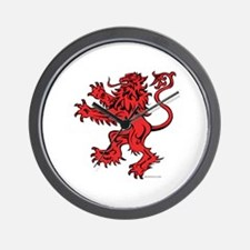 Lion Red Black Wall Clock