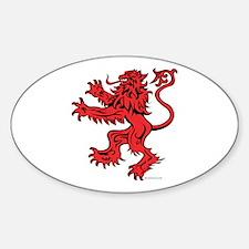 Lion Red Black Sticker (Oval)