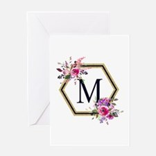 Gold Floral Hexagon Monogram Greeting Cards