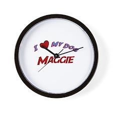 I Love My Dog Maggie Wall Clock