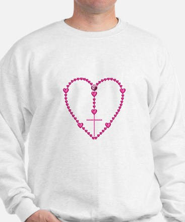 Pink Rosary with Heart-Shaped Beads Sweatshirt