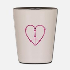 Pink Rosary with Heart-Shaped Beads Shot Glass
