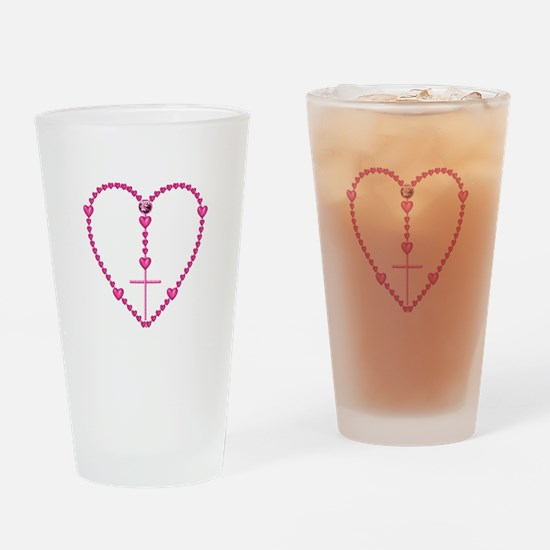 Pink Rosary with Heart-Shaped Beads Drinking Glass