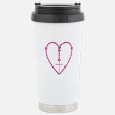 Pink Rosary with Heart- Stainless Steel Travel Mug