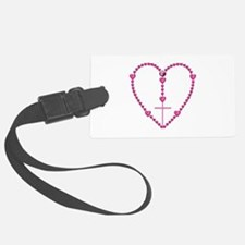 Pink Rosary with Heart-Shaped Be Luggage Tag
