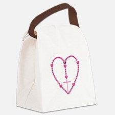 Pink Rosary with Heart-Shaped Bea Canvas Lunch Bag