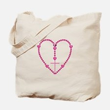Pink Rosary with Heart-Shaped Beads Tote Bag