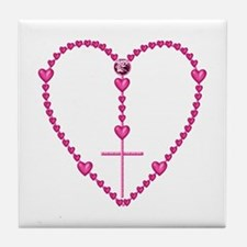 Pink Rosary with Heart-Shaped Beads Tile Coaster