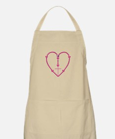 Pink Rosary with Heart-Shaped Beads Apron