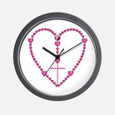 Pink Rosary with Heart-Shaped Beads Wall Clock