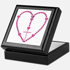 Pink Rosary with Heart-Shaped Beads Keepsake Box