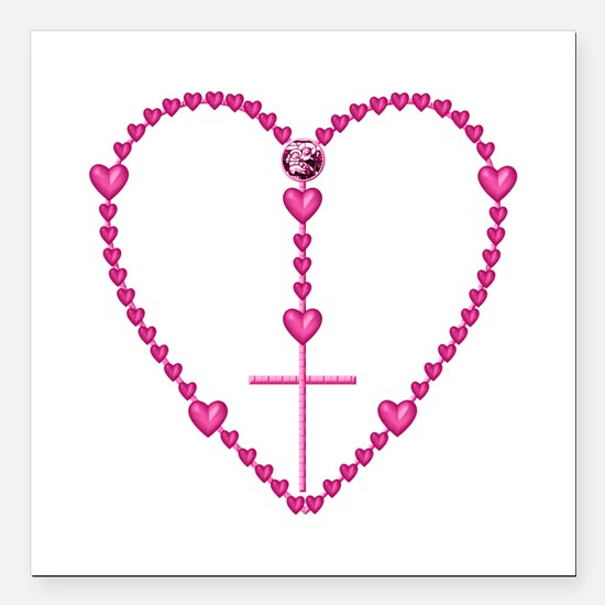 "Pink Rosary with Heart-S Square Car Magnet 3"" x 3"""