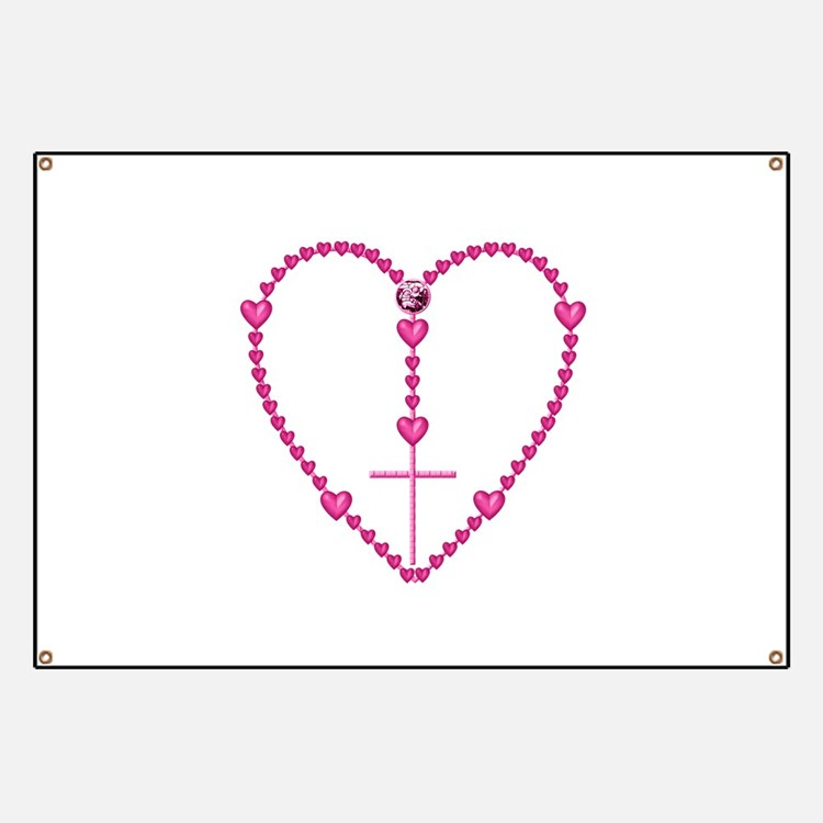 Pink Rosary with Heart-Shaped Beads Banner