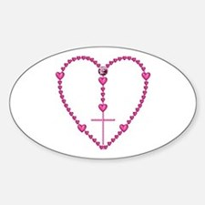 Pink Rosary with Heart-Shaped Beads Decal