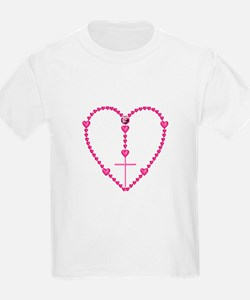 Pink Rosary with Heart-Shaped B T-Shirt