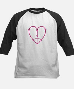 Pink Rosary with Heart-Shaped Kids Baseball Jersey