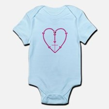 Pink Rosary with Heart-Shaped Bead Infant Bodysuit