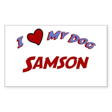 I Love My Dog Samson Rectangle Sticker
