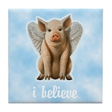 I Believe Flying Pig Tile Coaster