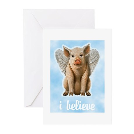 I Believe Flying Pig Greeting Cards (Pk of 20)
