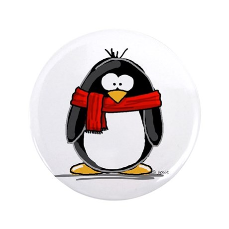 "Red Scarf Penguin 3.5"" Button"