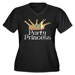 Party Princess Women's Plus Size V-Neck Dark T-Shi