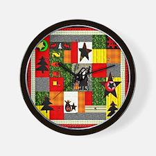 Christmas Folk Art Quilt Appl Wall Clock