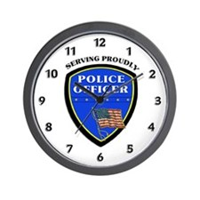 Police Serving Proudly Wall Clock