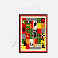 Christmas Folk Art Quilt Appl Greeting Card