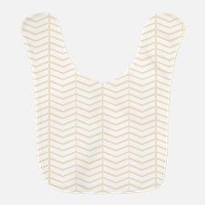 Cream Herringbone Polyester Baby Bib