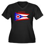 Ohio State Flag Women's Plus Size V-Neck Dark T-Sh