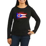Ohio State Flag Women's Long Sleeve Dark T-Shirt