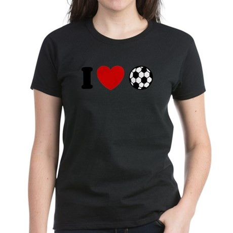 I Love Soccer Women's Dark T-Shirt
