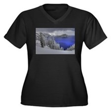 Crater Lake Women's Plus Size V-Neck Dark T-Shirt