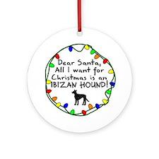 Dear Santa Wire Ibizan Hound Christmas Ornament