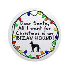 Dear Santa Ibizan Hound Christmas Ornament