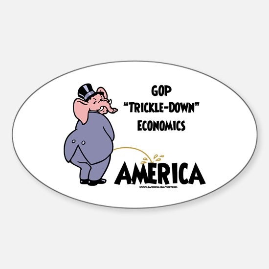 Trickle Down 2c Oval Decal